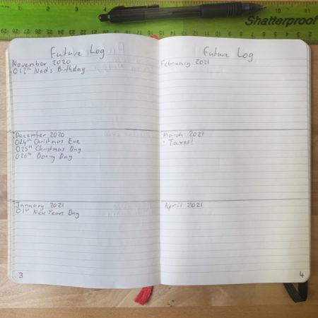 Simple Bullet Journal Future Log 2