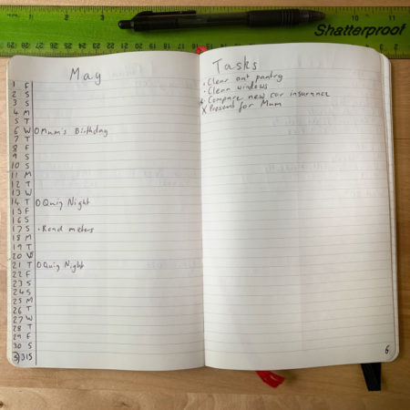 Simple Bullet Journal Monthly Log