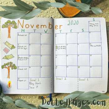 November Bullet Journal Setup 2020 Log