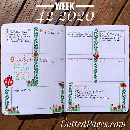 Week 42 2020 Bullet Journal Spread