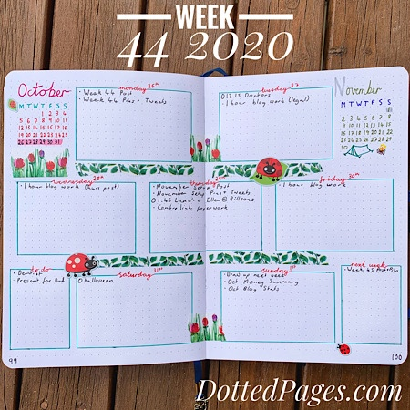 Week 44 2020 Bullet Journal Spread