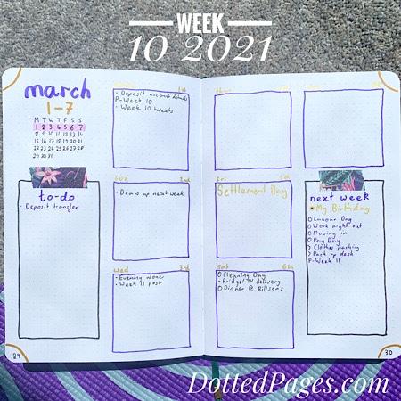 Week 10 2021 Bullet Journal Spread