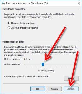 Applica protezione sistema windows 10