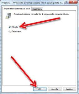 Attiva cancella file di paging