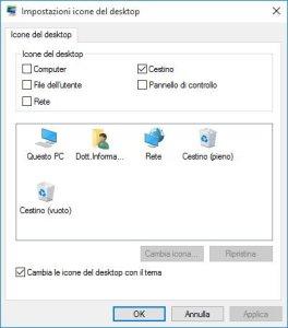 Impostazioni icone del desktop