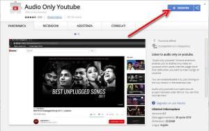 Riprodurre solo audio dai contenuti di YouTube