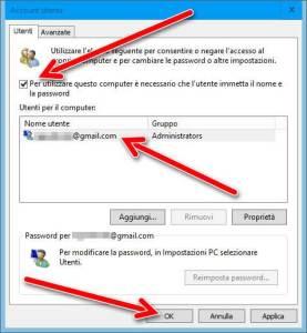 Login automatico in Windows 10