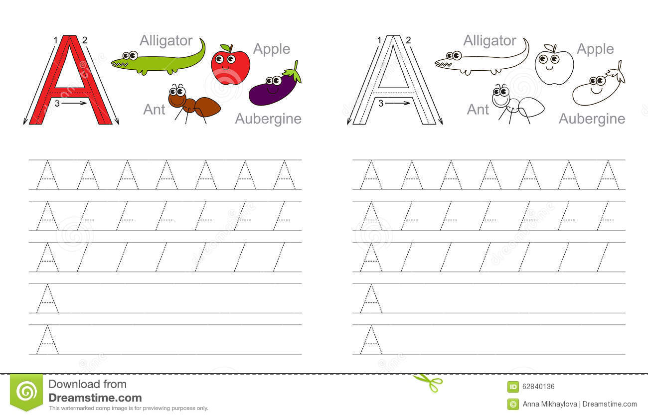 Letter A Preschool Tracing Worksheets With Ant