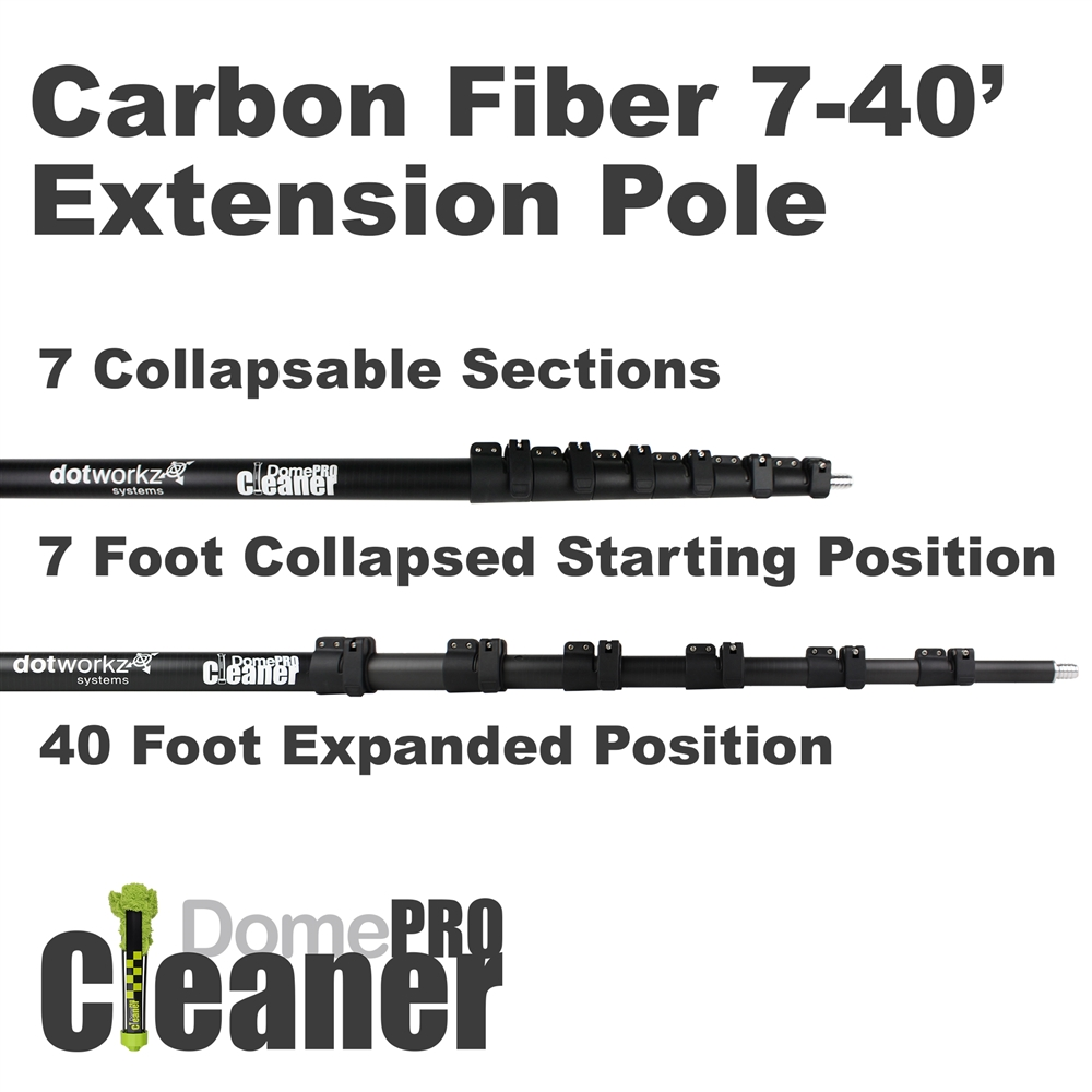 DomeCleanerPRO 40 Foot Carbon Fiber Extension Pole from