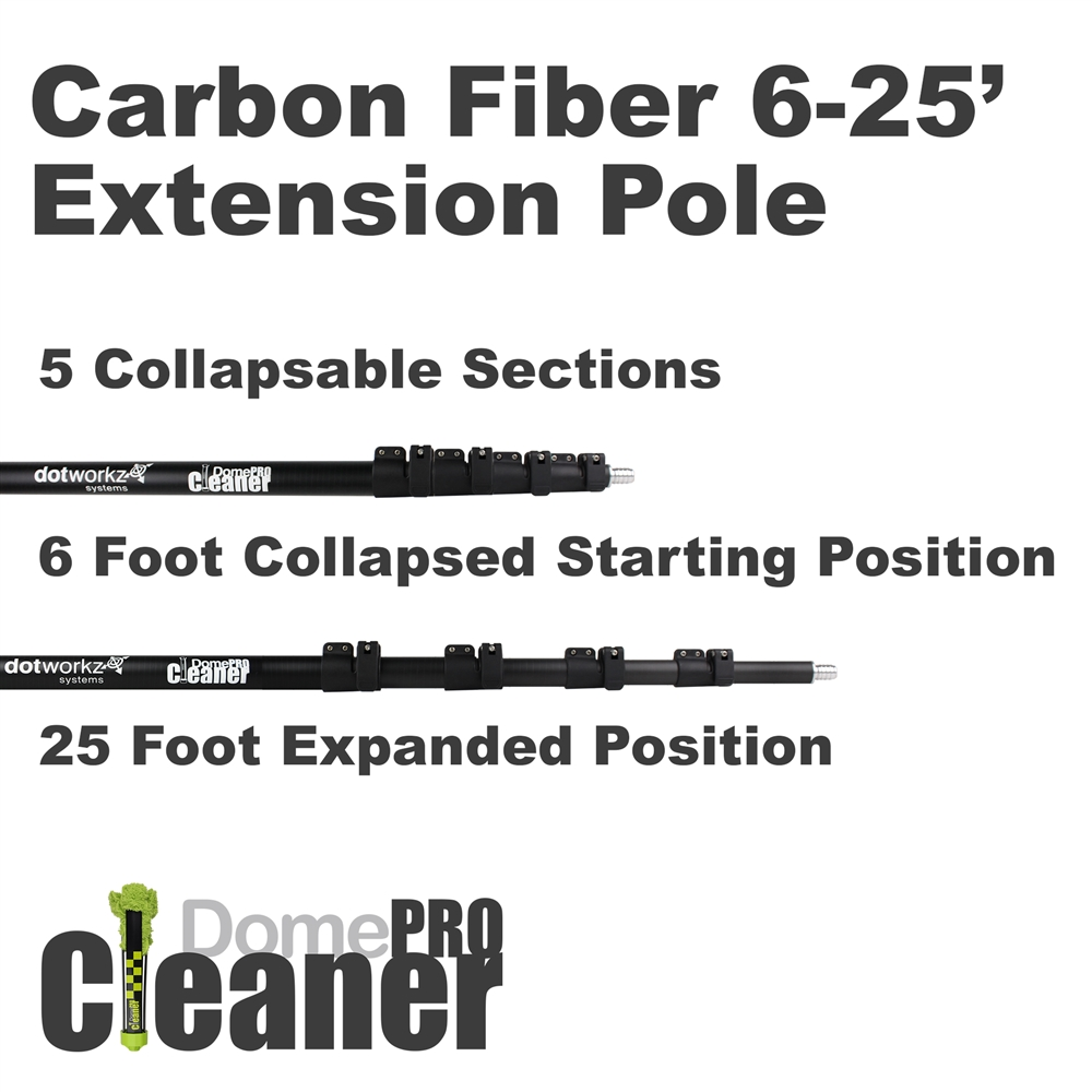 DomeCleanerPRO 25 Foot Carbon Fiber Extension Pole from