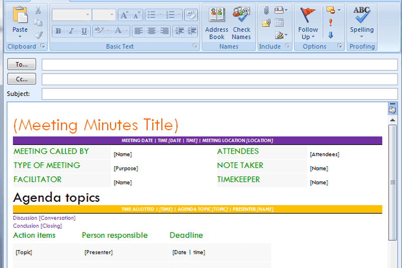 outlook meeting minutes template