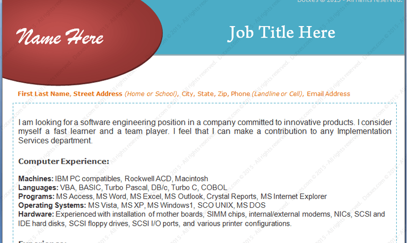 Experienced Software Engineers Resume Format (Featured Image)