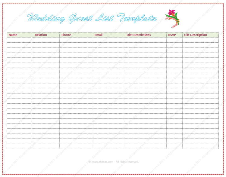wedding guest list template in Word