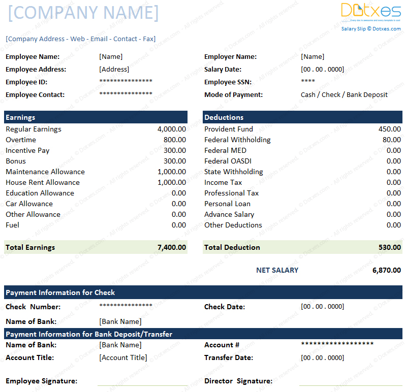 salary slip format  for excel and word