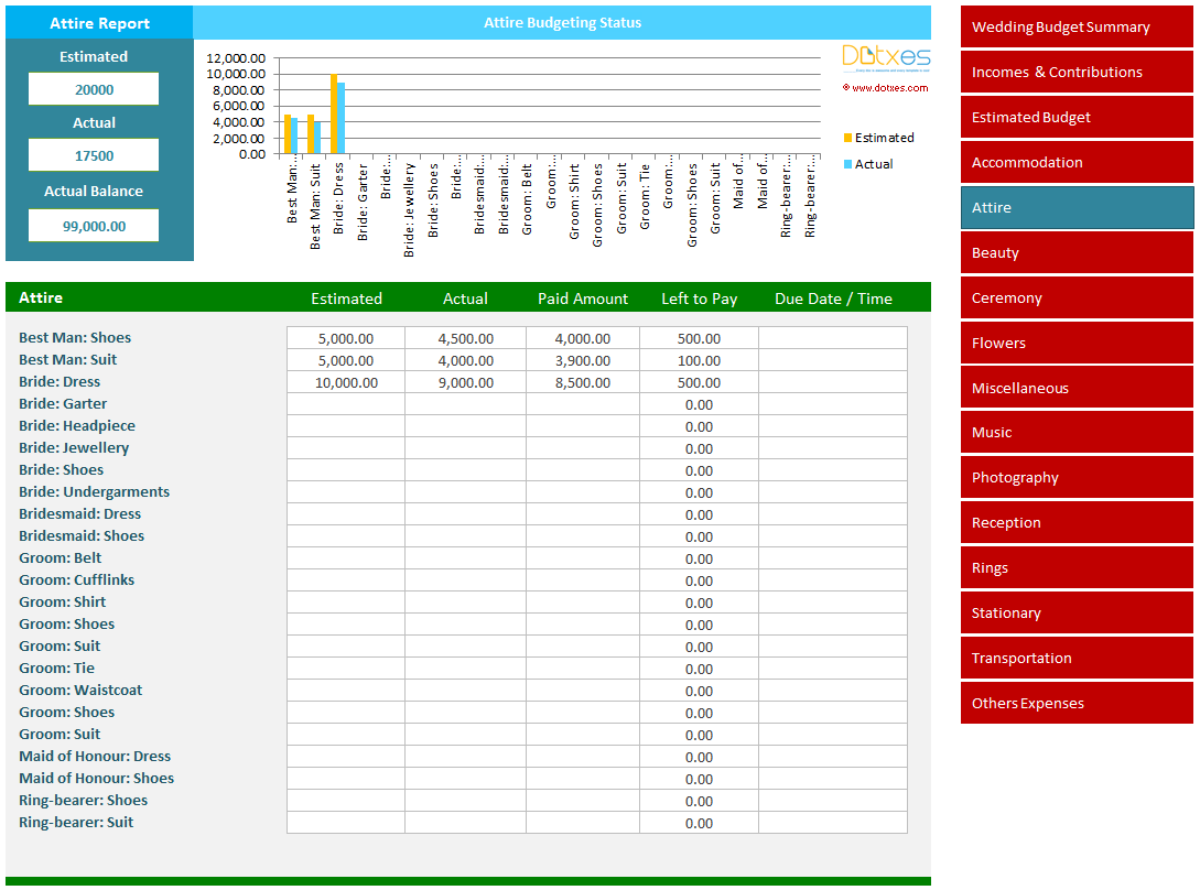 Wedding Budget Calculator And Estimator Spreadsheet