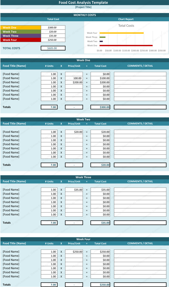 recipe template for excel
