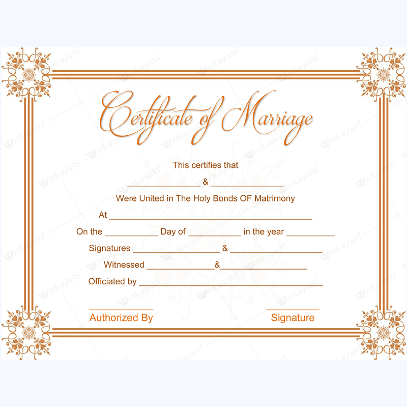 Editable marriage certificate