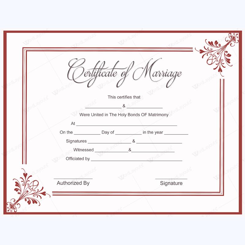 marriage certificate blank designs certificates templates word plus printable template editable wordlayouts adorable source dotxes
