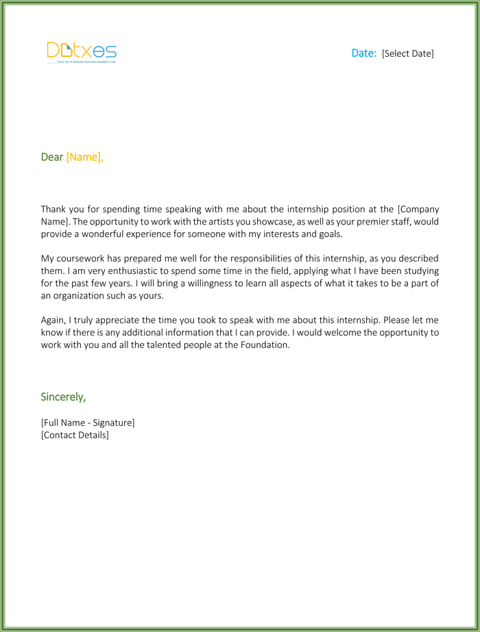 internship interview thank you letter