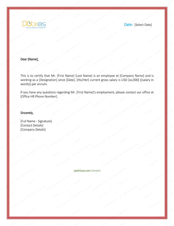 Employment Verification Letter 4 Printable Formats