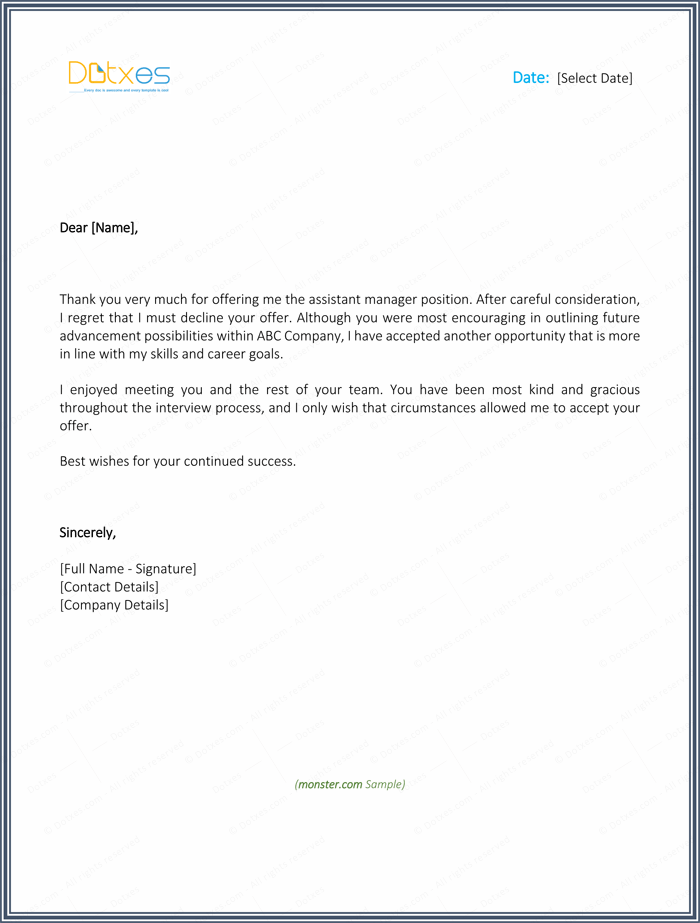 thank you letter for job offer