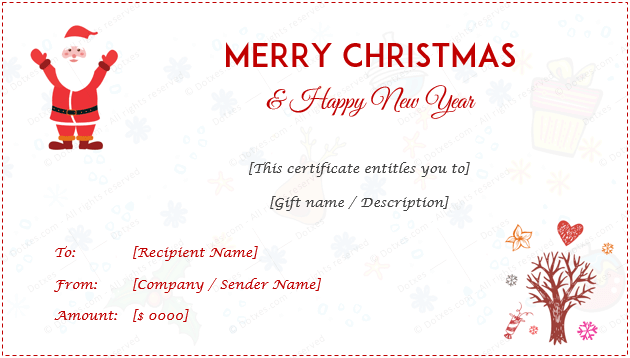Christmas Gift Certificate Template Holiday Gift Certificates Dotxes