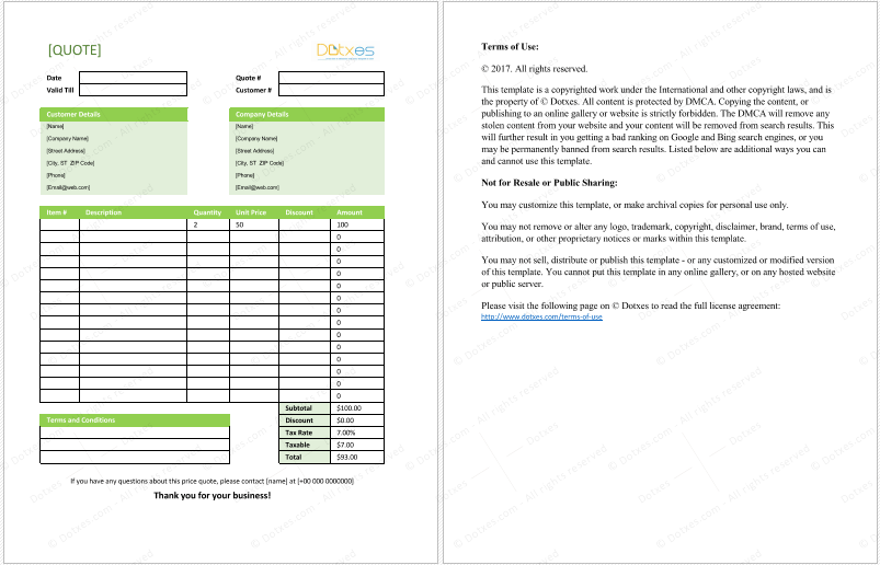 General Quotation Template