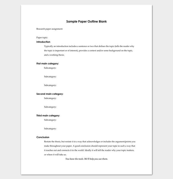 Blank essay outline