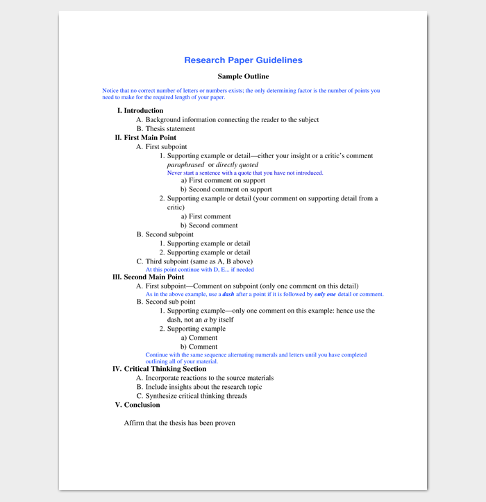 Research Paper Outline Template 36 Examples Formats & Samples