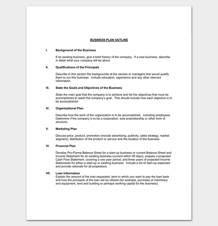 Business Plan Outline Template For PDF