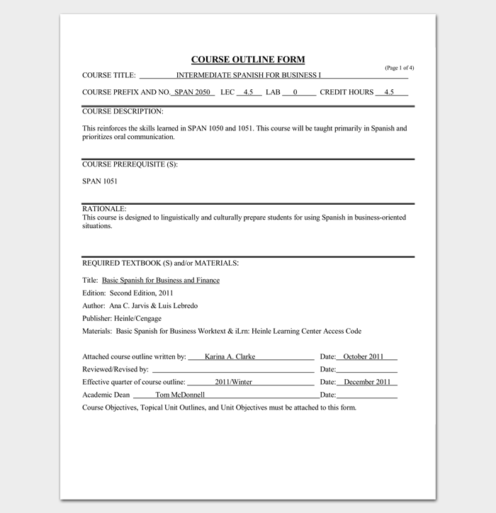 course outline template 10 samples for word pdf format