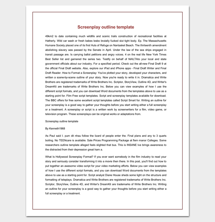 Screenplay Outline Template