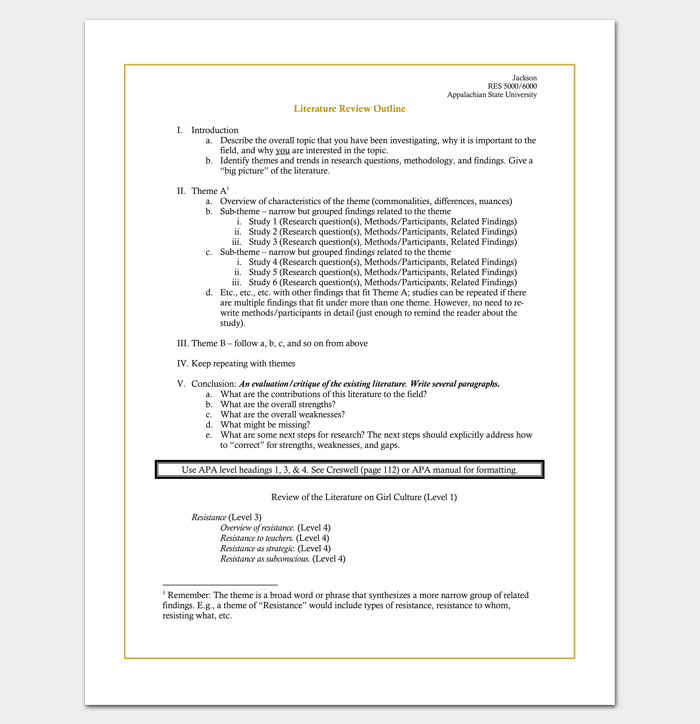 Literature Review Outline Template 20 Formats Examples