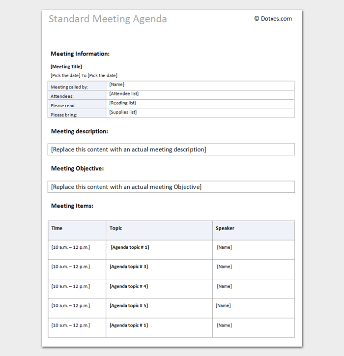 Agenda Outline Template 10 For Word Excel Pdf Format