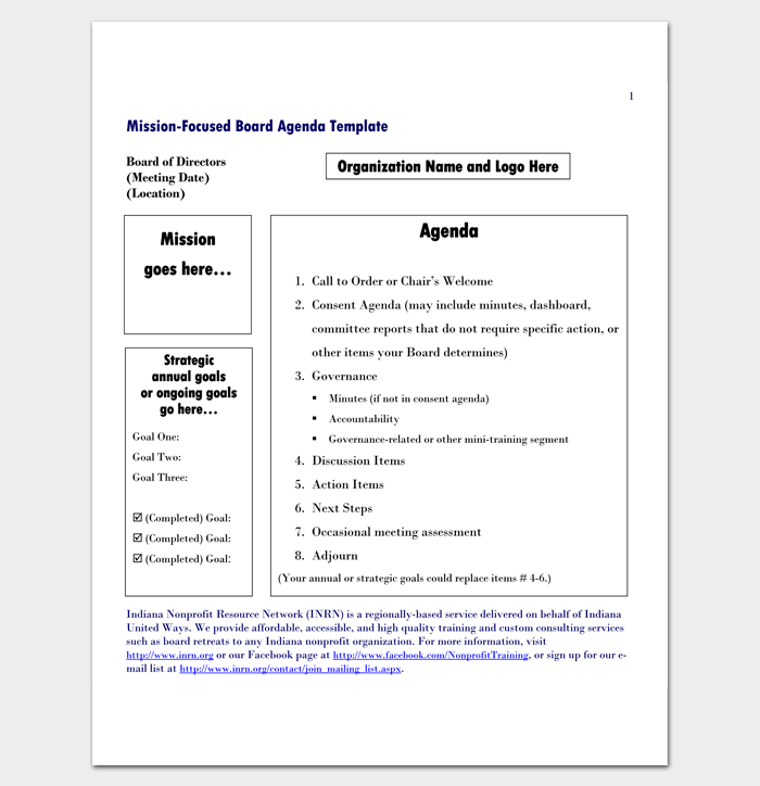 mission focused board meeting agenda template