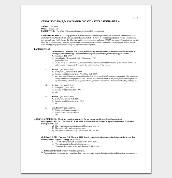 Research Paper Literature Review Outline For Research