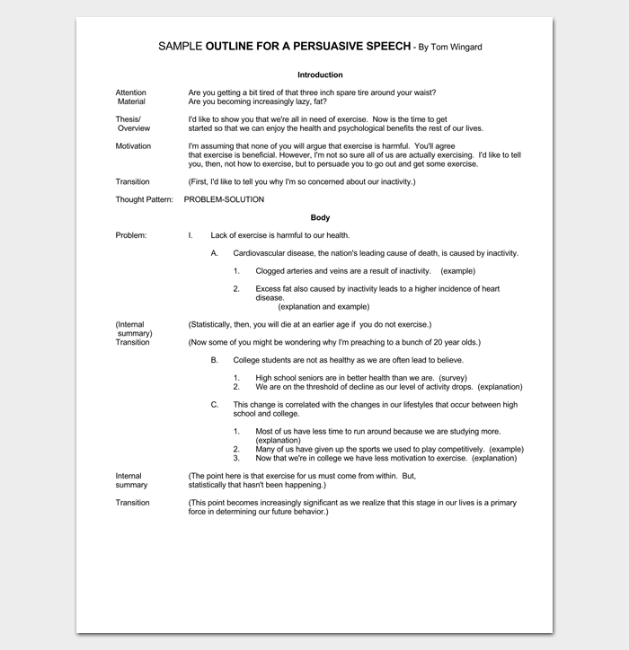 Persuasive Speech Outline Template 15 Examples Samples