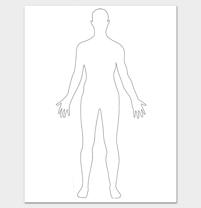 It is a photo of Critical Printable Human Body Outline Template Pdf