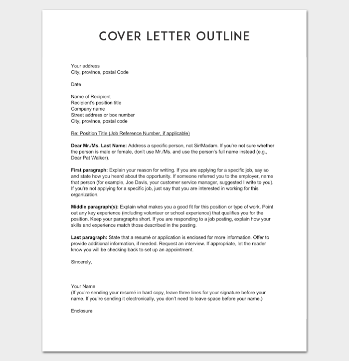 Cover Letter Outline Template  7 Samples Examples Formats
