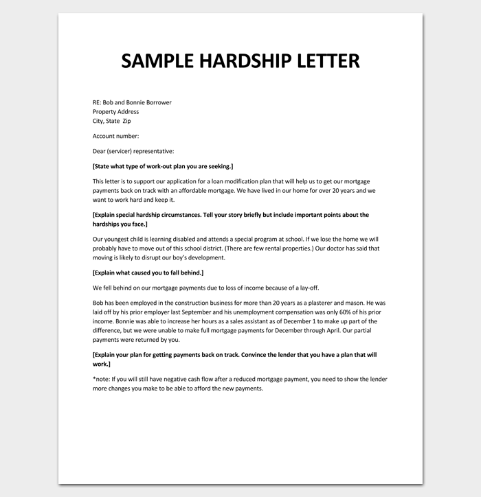 how to write a letter of hardship for loan modification