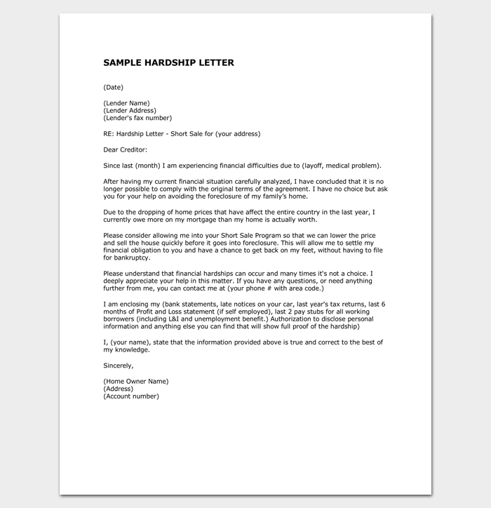 Hardship Letter to Creditors 1