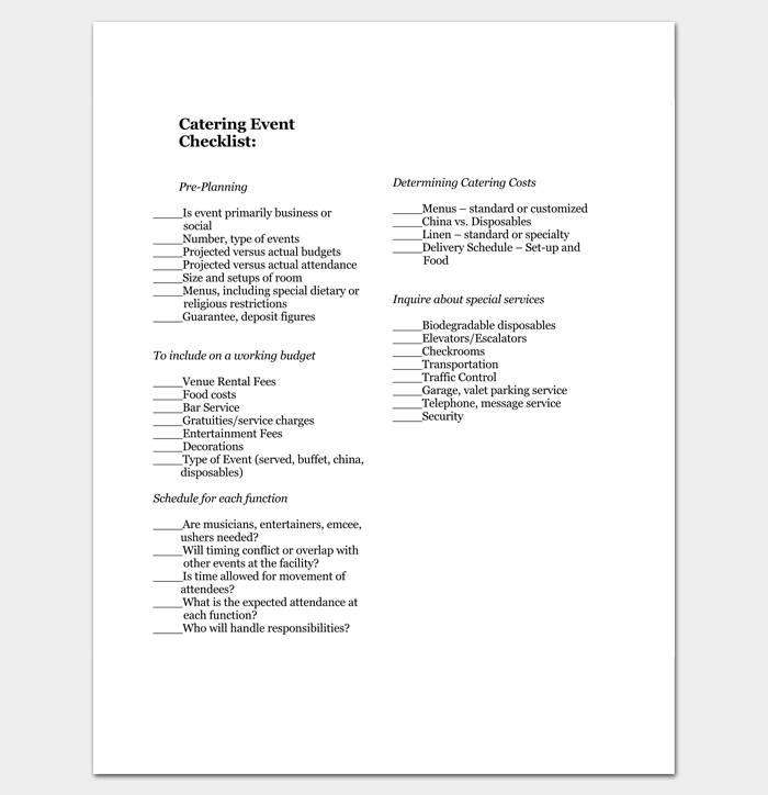 Catering Event Checklist in PDF 1