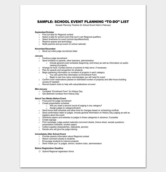 School Event To do List 1
