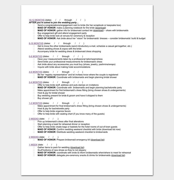 Wedding Checklist for Bridesmaid