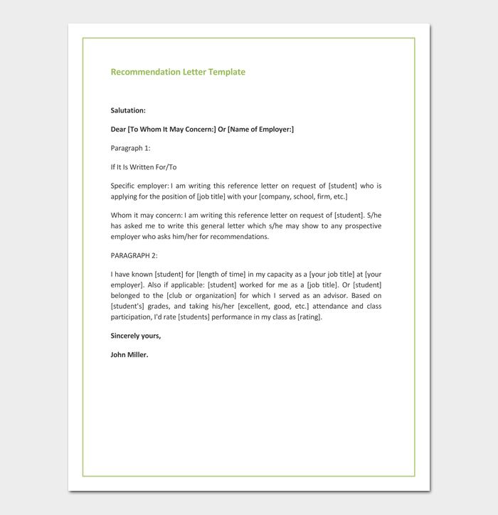 Promotion Recommendation Letter Format