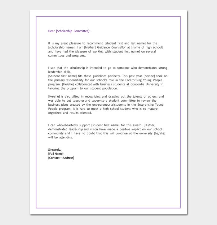 student recommendation letter for scholarship