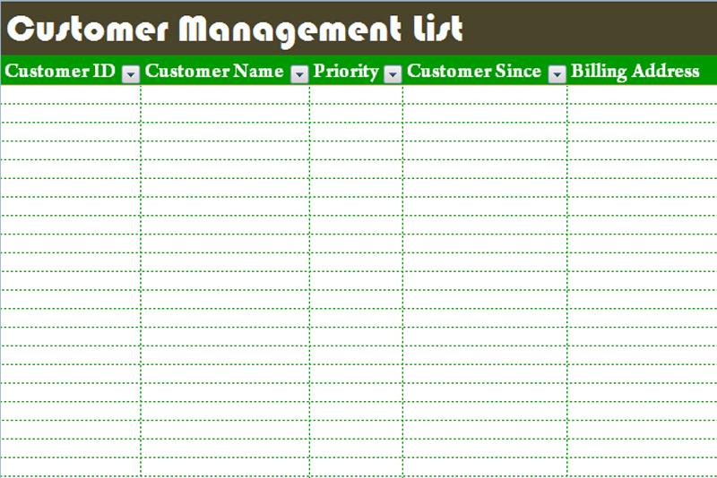 Customer Management List Template Dotxes