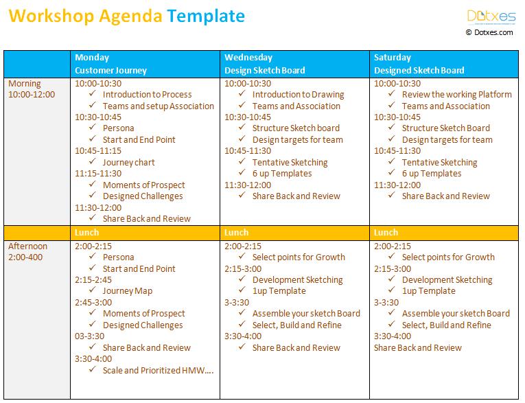 a sample workshop agenda template