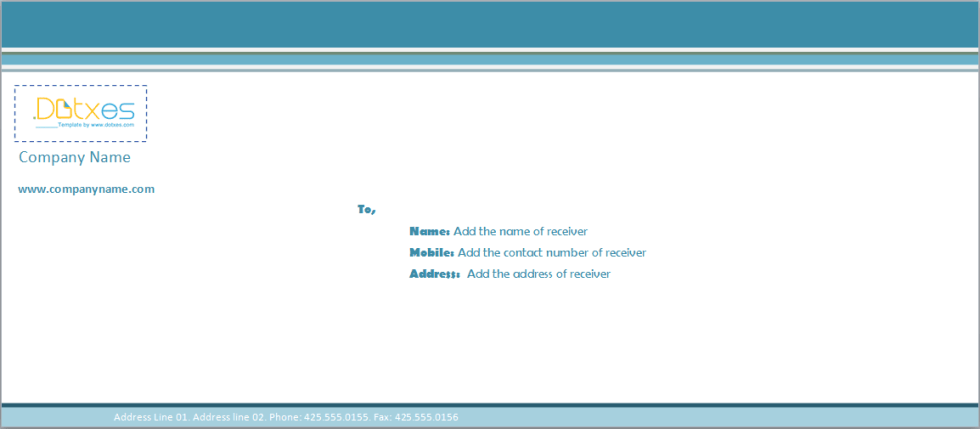 Business Envelope template (Blue line)