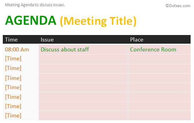 Issue meeting agenda template